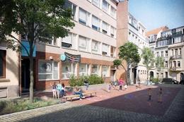 Simulatiebeeld van de als schoolstraat heraangelegde Cansstraat