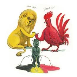 Illustratie Confederalisme Manneken Pis Vlaamse leeuw Waalse haan