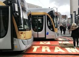 De oversteekplaats voor voetgangers aan de MIVB-tramhalte op het Stefaniaplein